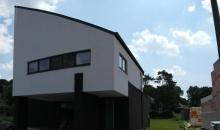 Gevelbepleistering bij modern woonhuis